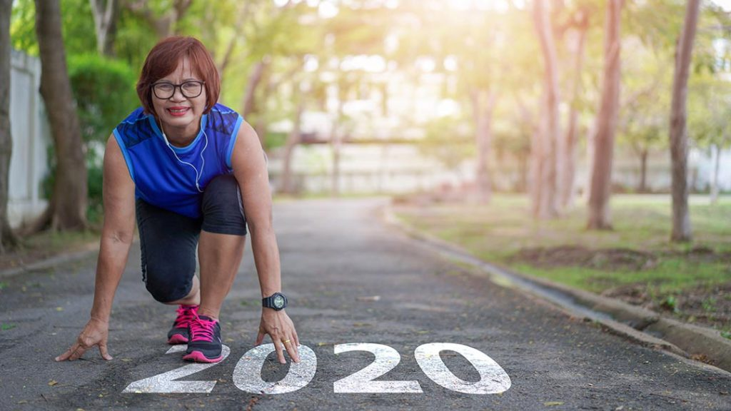 Start to new year 2020 plans goals Healthy way of life Senior asian woman happy jogging running in the park, Exercise sport activity concept
