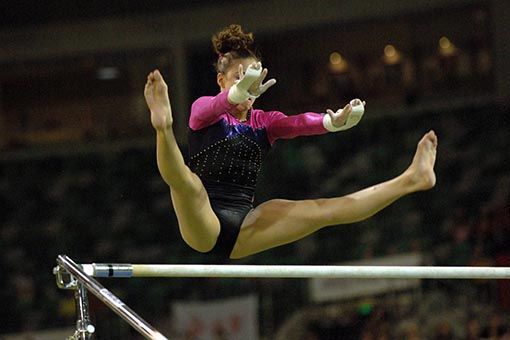 gymnast on the parallel bars