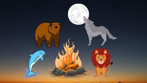 4 aminals representing Chronotypes around a campfire at night